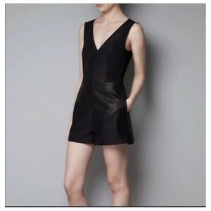 Zara Trafaluc Black Faux Leather Romper size XS